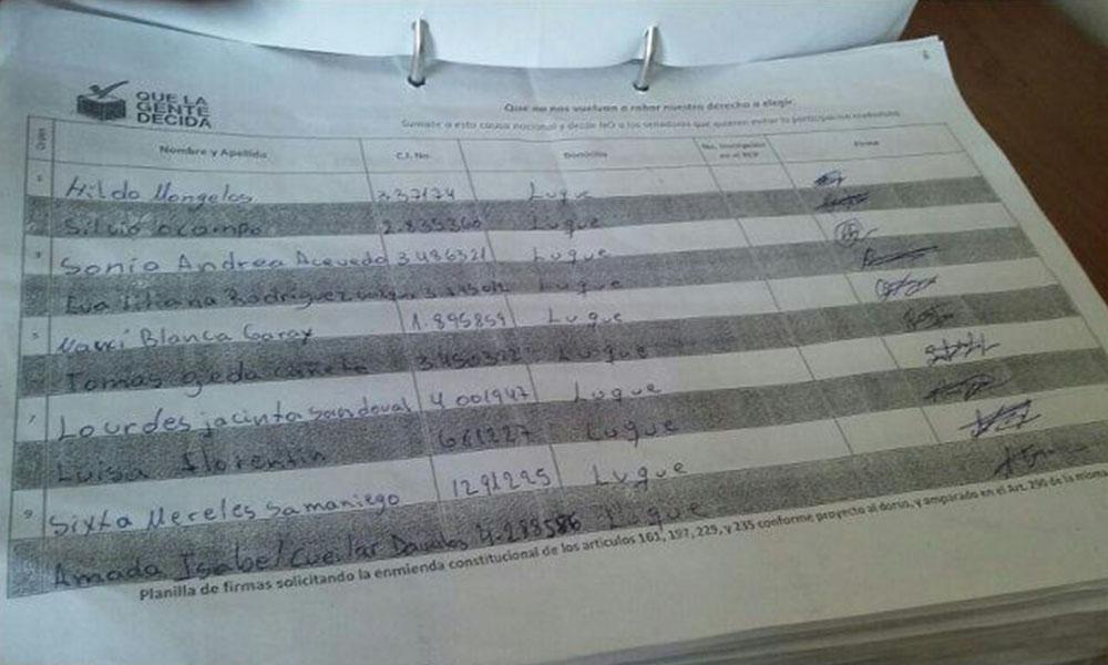 Imágenes Planilla pro reelección con varias presuntas irregularidades. Foto://Abc.com.py