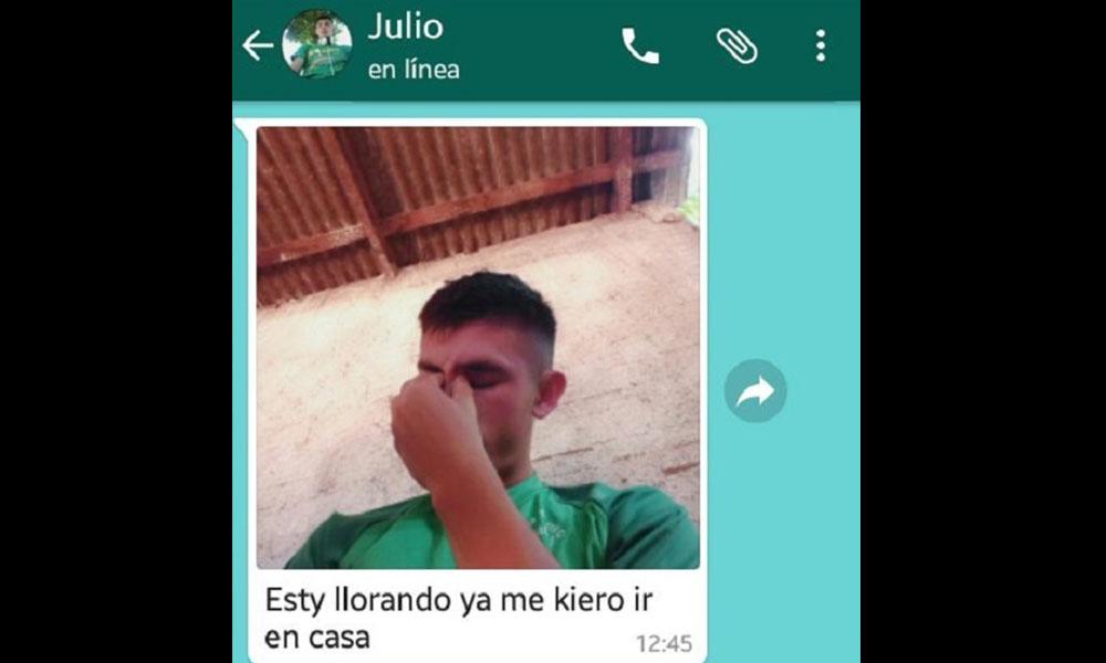 Mensaje que envió el joven. Foto://Paraguay.com