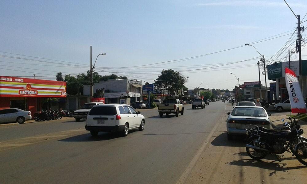 Avenida Mariscal Estigarribia e/ Nanawa, una de las arterias más transitadas de la ciudad de Coronel Oviedo. //OviedoPress