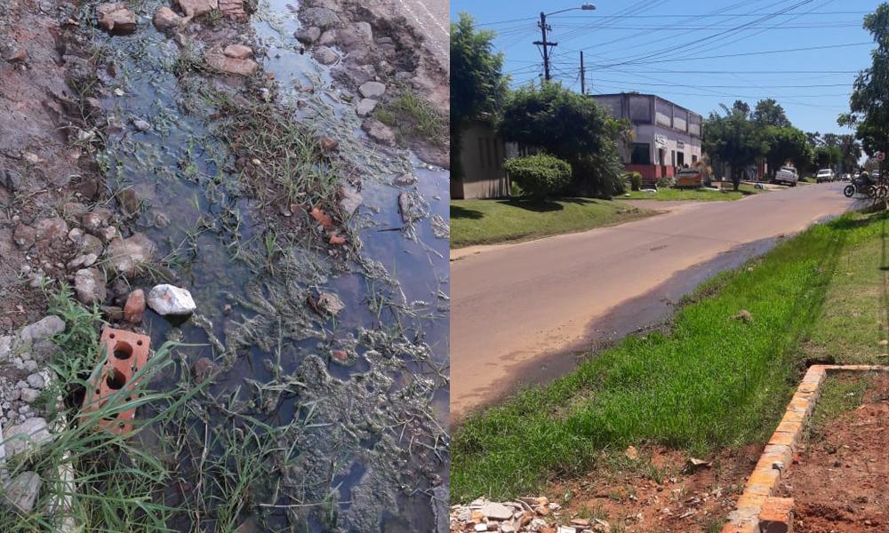 Lavaderos desechan aguas residuales en plena calle céntrica de Coronel Oviedo