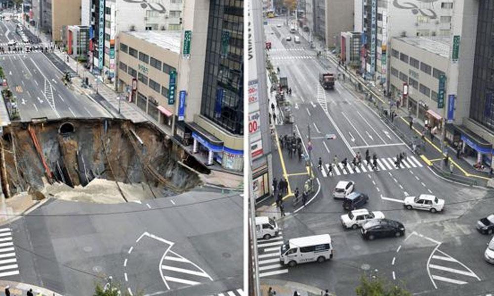 El antes y el después de la increíble reparación en 48 horas. //AP