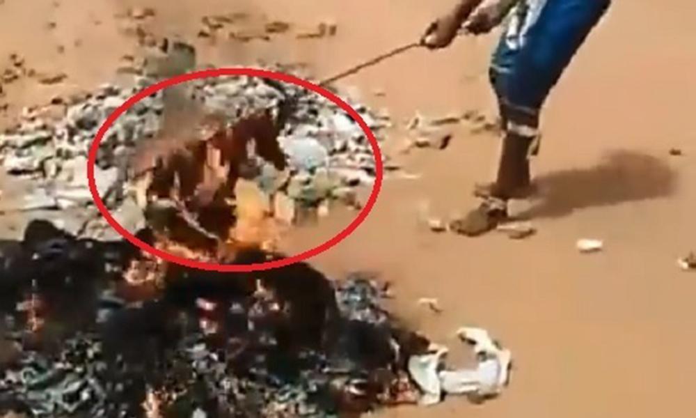 Imagen de la supuesta carne humana siendo asada.