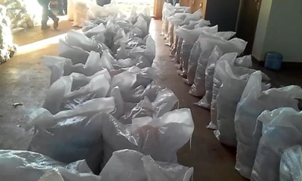 Imagen de los víveres a ser distribuidos. Foto://Captura de vídeo - Paraguay.com.