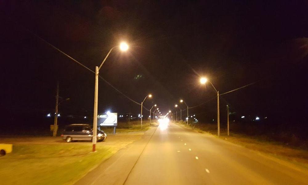 Tramo de 4.5 km con nueva iluminación, desde la rotonda del cruce Internacional de Coronel Oviedo hasta el estadio Ovetenses Unidos. //Facebook -Gobernación de Caaguazú