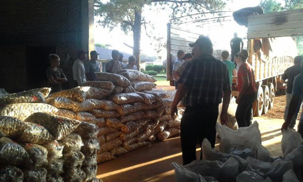Los víveres ya están en Guahory listos para ser repartidos a pobladores. Foto://Ultimahora.com