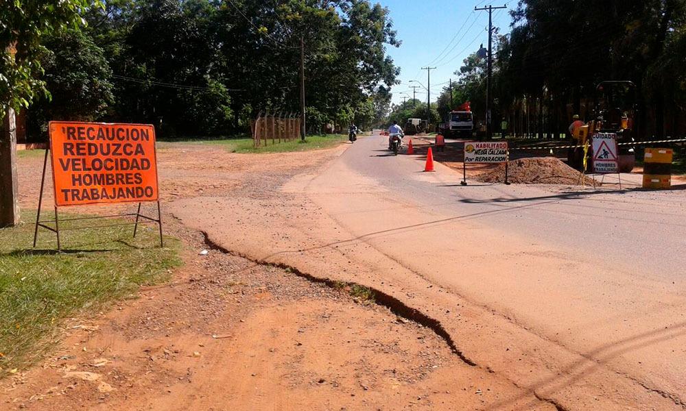 Zona de obras comprendida entre la Ruta VII Dr. Francia y el acceso al barrio Azucena. //OviedoPress