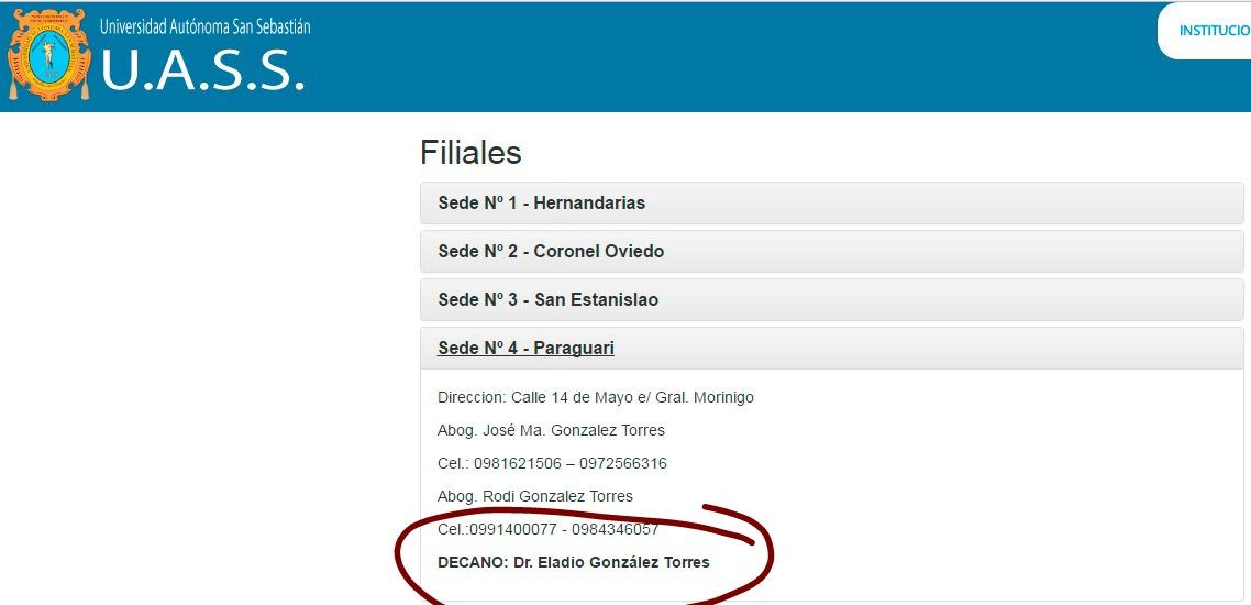 Información oficial consignada en el portal www.sansebastian.edu.py, que guarda relación con la filial 4 Paraguarí. //Iternet