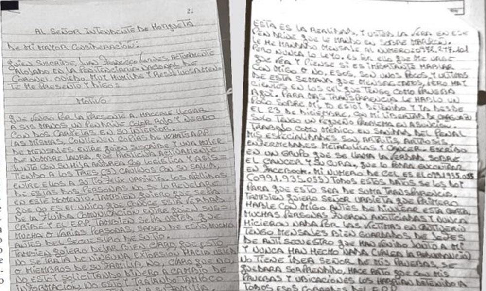Confusión. La carta de tres hojas realizada por el médico argentino Juan Viames, que evitó el pago por el rescate. Foto://Ultimahora.com
