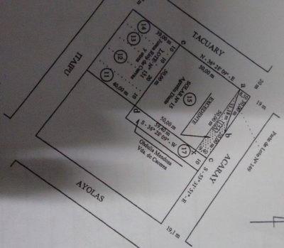 Plano del excedente reclamado por Agustín Diarte Sosa, colindante a su actual vivienda.