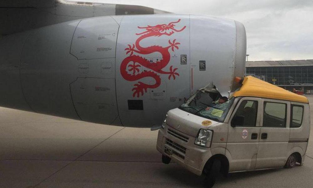 Hong Kong: Una camioneta chocó contra un avión a punto de despegar