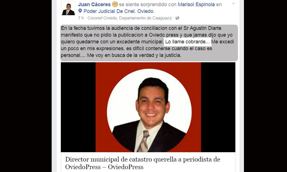 Publicación hecha por Juan Daniel Cáceres en su perfil personal de Facebook. //CapturaPantallaFacebook