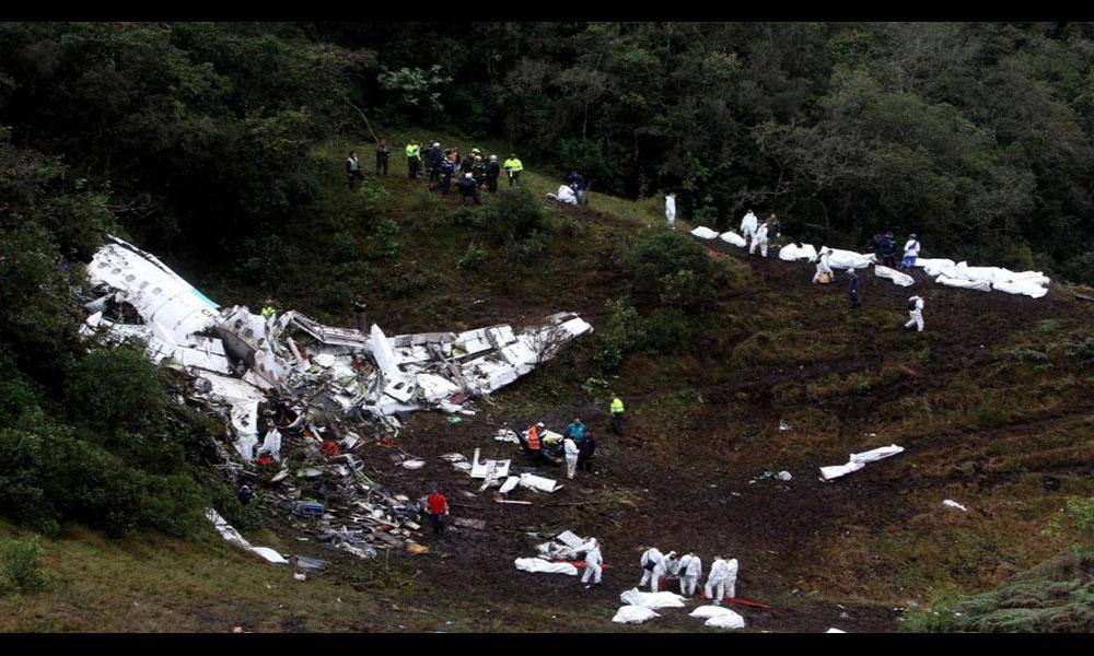 Restos del avion de la empresa Lamia, que cayo en Colombia.