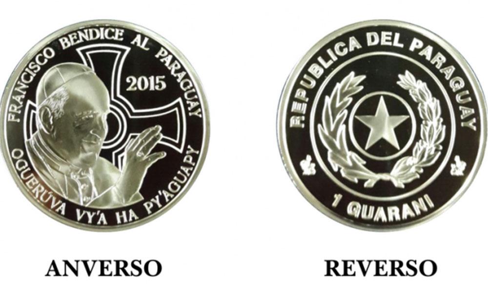 La moneda de 1 guaraní lleva grabada en el anverso el rostro del Papa con una cruz y la leyenda Francisco bendice al Paraguay. Foto: www.bcp.gov.py.